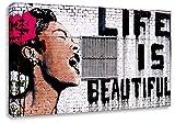 Druck auf leinwand Banksy Graffiti - Bild Life is Beautiful ! (div. größen) Bild fertig auf Keilrahmen ! Pop Art Gemälde Kunstdrucke, Wandbilder, Bilder (40x65cm)