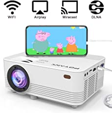 [WiFi Beamer] POYANK 2400 Lumen Beamer, unterstützt Airplay Miracast DLNA Funktion, Drahtlose und verkabelte Verbindung mit Smartphone Tablet Fire TV Stick PC Spielekonsole, unterstützt 1080P, Weiß.