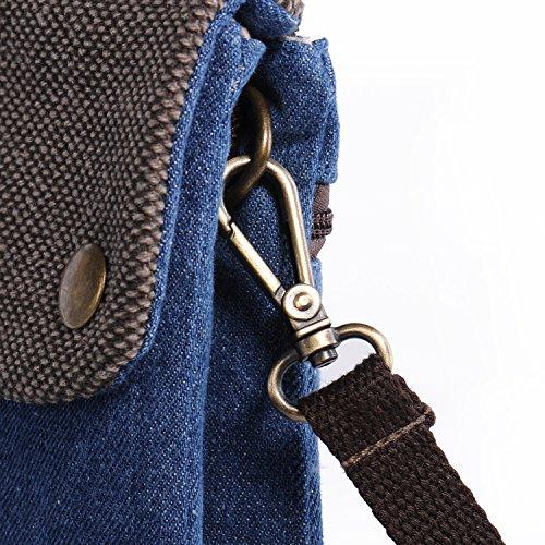 Regalo Natale Donna, Hengying Tela Denim duplice uso Piccolo telefono cellulare borsa delle ragazze del sacchetto di Crossbody manica Pochette Wristlet borsa con tasca Zipper Verde Blau