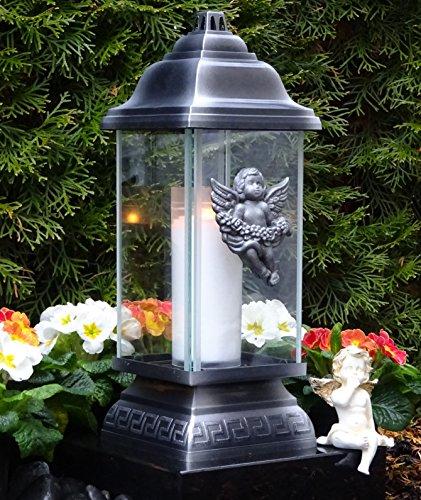 ♥ GRABLAMPE ENGEL ORNAMENT SILBER 34,0cm GRABKERZE GRABLICHT GRABLATERNE GRABSCHMUCK GRABLEUCHTE LATERNE KERZE LAMPE LICHT