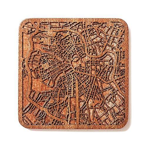 O3 Design Studio Untersetzer mit Karte von Sankt Peterburg aus Holz, 1 Stück, Sapeli-Untersetzer mit Stadtkarte, mehrere Stadt optional, handgefertigt