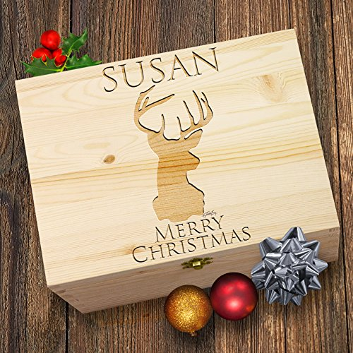 personalisierbar Merry Christmas Hirsch Christmas Eve Treat Box