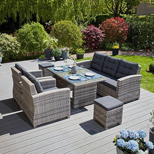 Hochwertige Tischgruppe in Grau Polyrattan Garten Möbel Poly Rattan Speisegruppe Speiselounge Hellgrau Gartenlounge mit Tisch Sitzbank zwei Sesseln und zwei Hockern