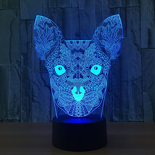 Leisurely Lazy Chihuahua Dog Shape 3D Optical Illusion Lamp 7 Colors Change and 15 Keys Remote Control LED Night Light Perfect Gifts Toys
