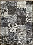 Ladeco Vintage Teppich Used Antik Patchwork Design robust & strapazierfähig (grau, 155 x 230 cm)
