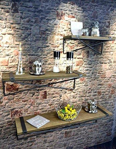 Livitat® Küchenregal Wandregal Badregal Metall Holz Industrie Design Vintage Loft LV5033