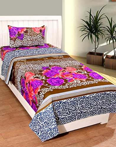 BSB Trendz Printed Cotton Single Bedsheet With 1 Pillow Cover