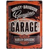 Nostalgic Art Harley Davidson Garage - Placa decorativa, metal, 30 x 40 cm, color naranja y negro