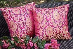 Premium Quality PURE BROCADE BOUGAINVILLEA PINK & GOLDEN MUGHAL CLASSIC DESIGN Decorative Cushion Covers (Set of 2) (12x12 i.e 30x30 Cms) - By Royal DecoFurnishing