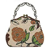 Wgwioo Bag femmes vintage luxe perlé clutche sac à main sac de soirée dîner sac à main. 23 x 22.5 cm brown one size