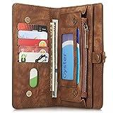 iPhone/Samsung Leder Handytasche Case Hülle Geldbörse mit Kartenfach abnehmbar Magnet Handy Schutzhülle für iPhone 6 Plus/iPhone 6S Plus in Braun