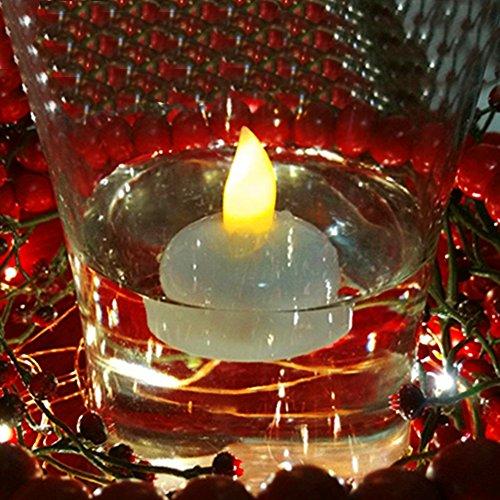 LOGUIDE f¨¹hrte gelbe schwimmende Tee-Wasser-wasserdichte Votiv-flammenlose Kerzen f¨¹r Hochzeits-dekorative Lichter 12pcs Leuchten Für Mittelstücke
