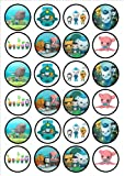 Octonauts Edible PREMIUM THICKNESS SWEETENED VANILLA,Wafer Rice Paper Cupcake Toppers/Decorations