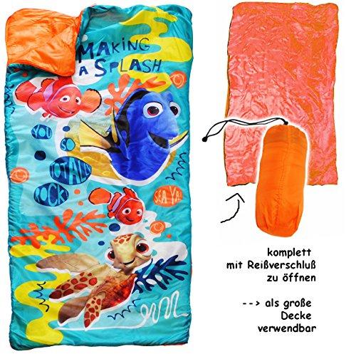 alles-meine.de GmbH 2 in 1 : Schlafsack & XL Decke - 150 cm -  Disney - Findet Nemo - Fisch Dory  - komplett aufklappbar - Kinder sehr leicht - Kinderschlafsack / für Mädchen &..