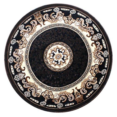 Traditionell Runder Bereich Teppich schwarz Design Kingdom # 123(5Feet X 5Fuß) rund (5' Jute)