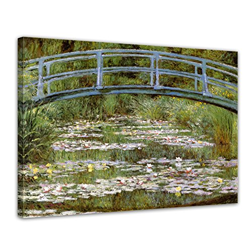 Wandbild Claude Monet Die japanische Brücke - 60x50cm quer - Alte Meister Berühmte Gemälde Leinwandbild Kunstdruck Bild auf Leinwand -