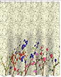 Printed & Designer Shower Curtain Full Size ( 66 x 72 ) with Rust proof Eyelet's . 100% Water Proof Latest trending Modern Design : Abstract design with flowers