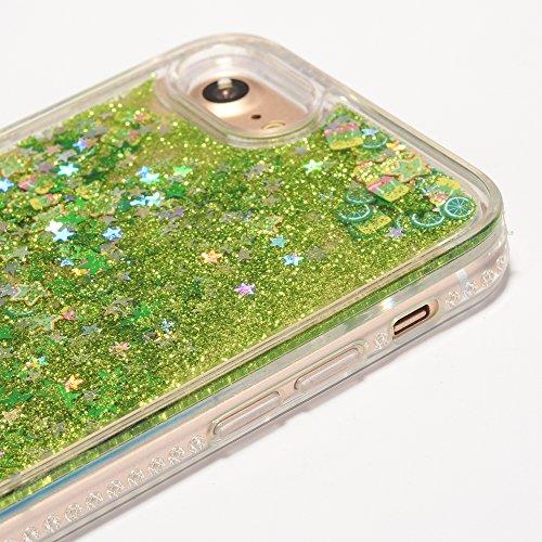 iPhone 7 4.7 Hülle, Voguecase Silikon Schutzhülle / Case / Cover / Hülle / TPU Gel Skin für Apple iPhone 7 4.7(Perlen Treibsand-Hustle Baby-Pink) + Gratis Universal Eingabestift Frucht-Treibsand - Zitronengrün