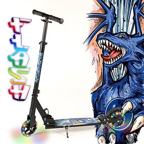 hepros-xxl-flash-fully-scooter-145mm-roues-lumineuses-cityroller-noir-dragon-bleu
