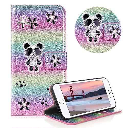 Glitzer Strass Brieftasche für iPhone 6s,Regenbogen Rosa Leder Handyhülle für iPhone 6,Moiky Luxus 3D Magnetisch Kristall Niedlich Panda Blumen Diamant Hülle mit Kartenfächer Ständer (Kreditkarte Kostüm)