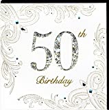 Edle Glückwunschkarte zum 50. Geburtstag von Koko Designs mit Prägung, Folie und Kristallen KK14