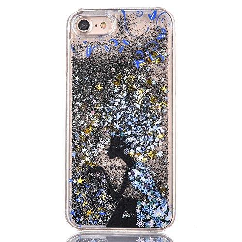 Voguecase® Pour Apple iPhone 7 4,7, Luxe Flowing Bling Glitter Sparkles Quicksand et les étoiles Hard Case étui Housse Etui(Fille papillon-Or) de Gratuit stylet l'écran aléatoire universelle Fille avec une fleur bleue-Noir