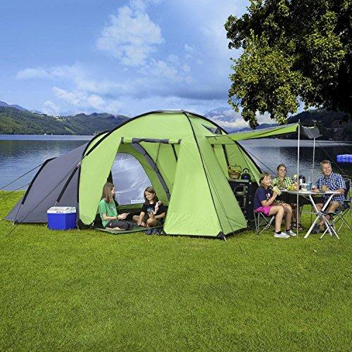 Berger Familienzelt Merano 5 Personenzelt, grün, 3000 mm Wassersäule, Zeltboden ist einlegbar