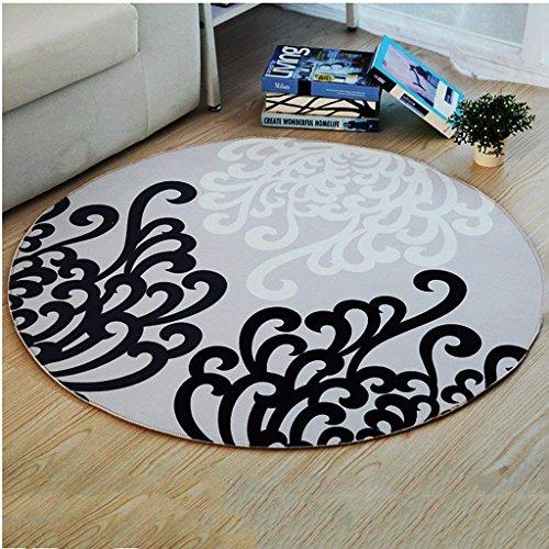 YAN Rug Creative Carpet Round, Nordic Black and BAI Geometric Mosaic Carpet Living Room Bedroom Computer Cradle Cushions,Diameter 180CM