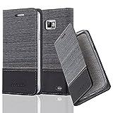 Cadorabo Hülle für Samsung Galaxy S2 / S2 Plus - Hülle in GRAU SCHWARZ – Handyhülle mit Standfunktion und Kartenfach im Stoff Design - Case Cover Schutzhülle Etui Tasche Book