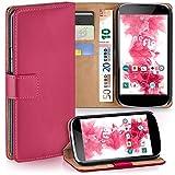 moex LG Google Nexus 4 | Hülle Pink mit Karten-Fach 360° Book Klapp-Hülle Handytasche Kunst-Leder Handyhülle für LG Google Nexus 4 Case Flip Cover Schutzhülle Tasche