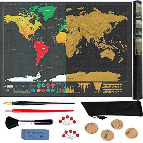 TELLUAT Carte du Monde à Gratter xxl NOIR et OR. Scratch Map Détaillée Grand Format Deluxe...