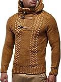 LEIF NELSON Herren-Strickpullover | Strick-Pulli mit Kapuze | Moderner Woll-Pullover Sweatshirt Langarm mit Knöpfen