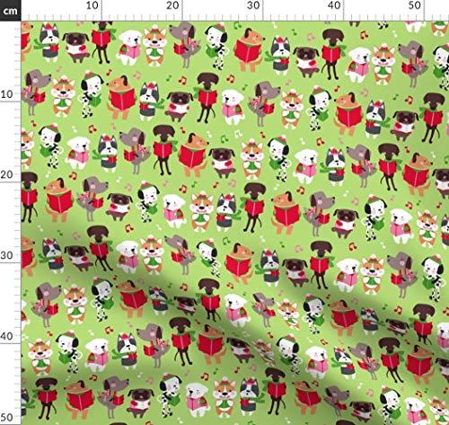 Hund, Corgi, Weihnachten, Mops, Boston Terrier Stoffe - Individuell Bedruckt von Spoonflower - Design von Lizmytinger Gedruckt auf Baumwollstoff Klassik -