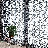 LUFA Nuevo cenefas de bufanda de voile de tul de flores decoradas con cortinas de ventana transparentes Negro
