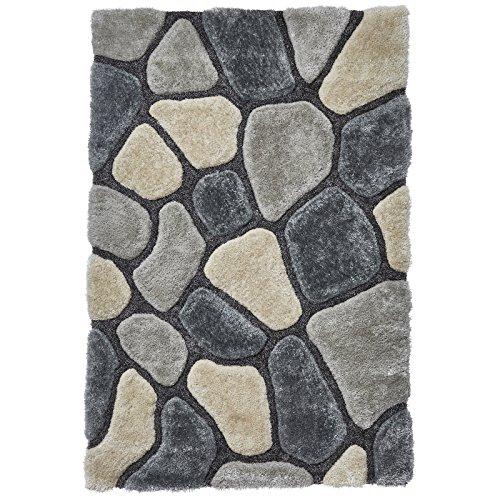 HomeLinenStore Designer-Multi mit 3d-Effekt, von Hand getuftet Shaggy Teppich mit verschiedenen Größen, Farbe: Grau/Blau, grau/blau, 150 x 230 Cm - Hand Getuftet Teppiche