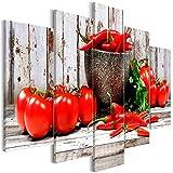 decomonkey Akustikbild Küche Gemüse 200x100 cm 5 Teilig Bilder Leinwandbilder Wandbilder XXL Schallschlucker Schallschutz Akustikdämmung Wandbild Deko leise Paprika Tomate rot Holz Brett grau