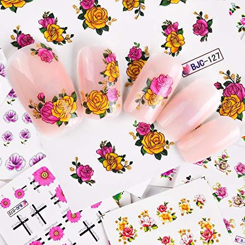 LXYQW Nagelsticker Nagelaufkleber 55 Stücke 3D Bunte Schönheit Nail Art Sticker Nägel Blume Abziehbilder Kreative Klebstoff Set DIY Dekoration Maniküre -