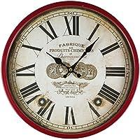 Reloj de pared de metal lacado con esfera de cristal y diseño vintage de Perla PD