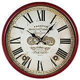 cf14ef4d530b Perla PD Diseño Metal Reloj de pared con cristal vintage diseño Fabrique  Color Marrón Rojo lacado aprox. Ø 30 cm