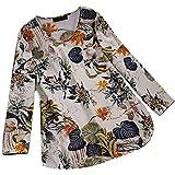 MRULIC Damen Fledermaus Hemd Lässig Locker Top Dünnschnitt Bluse Frühling T-Shirt Leinenbluse Freundin(F2-Beige,EU-50/CN-5XL)