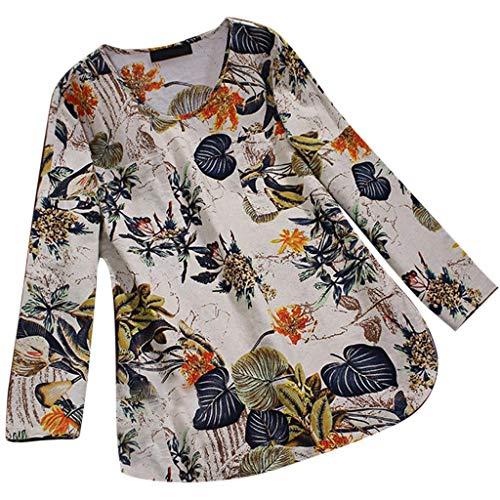 MRULIC Damen Fledermaus Hemd Lässig Locker Top Dünnschnitt Bluse Frühling Neu T-Shirt Leinenbluse Freundin(F2-Beige,EU-36/CN-S)
