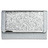 CASPAR TA345 Damen elegante XL Glitzer Clutch Tasche Abendtasche mit Metallspange, Farbe:silber;Größe:One Size