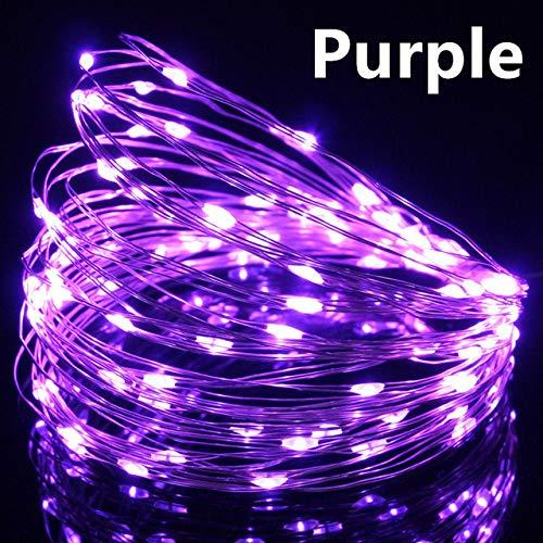 WSYYWD 5V USB String Licht Silber wasserdicht Märchen Lampe Girlande für Familie Weihnachtsfeier Dekoration Lila 2M 20LEDs -