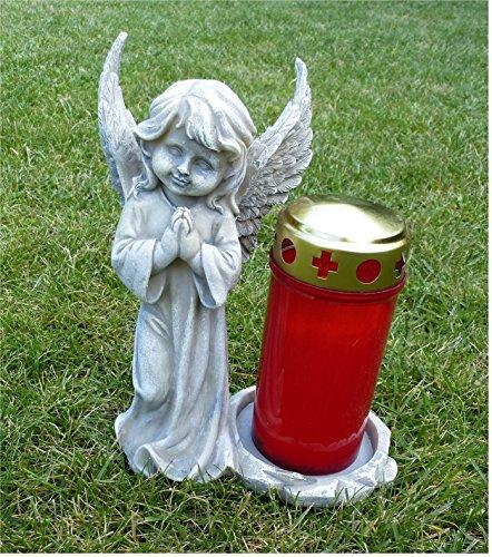 Engel stehend und betend Grabschmuck Grabdeko *für Grabkerze* grau-antik, H 20 cm