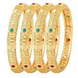 YouBella Fashion Jewellery Traditional Gold Plated Bracelet Bangles Set of 4 For Girls and Women (2.6)