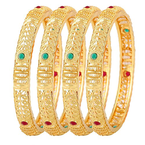 YouBella Fashion Jewellery Traditional Gold Plated Bracelet Bangles Set of 4 For Girls and Women (2.4)