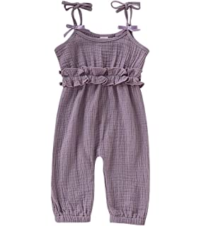 Edjude Newborn Baby Boys Girls Romper Jumpsuit Unisex Toddler Solid Color Long Sleeves Bodysuit Onesie Outfits