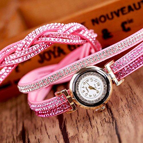 Duoya ® Femmes de luxe Bracelet en cristal d'or Quartz bracelet strass Horloge Montres cadeaux Rose