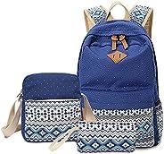 WSLCN Canvas Backpacks Set Girls School Bags Zipped Daypack Travel Satchel Shoulder Messenger Bag Kids Shoulde