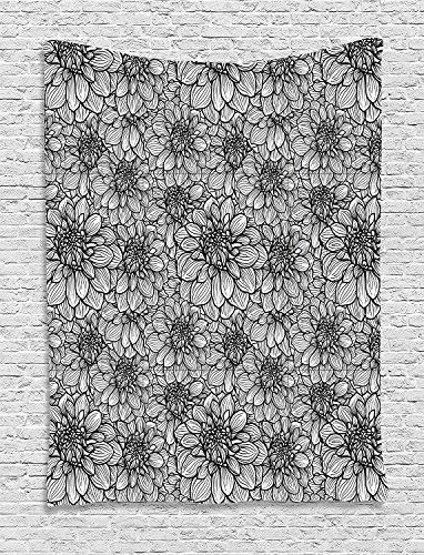 Jake L. Sawyers schwarz und weiß Tapisserie, Botanischen Garten-Pflanzen Hand Drawn Stil Dahlia in Blossom zum Aufhängen, für Schlafzimmer Wohnzimmer Wohnheim, 40W x 60L Zoll, Schwarz Weiß 60